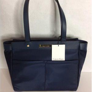 Calvin Klein Navy Blue Nylon Shoulder Tote Handbag